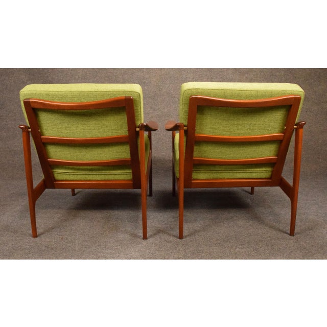 Green 1960s Mid Century Modern Teak Lounge Chairs - a Pair For Sale - Image 8 of 11