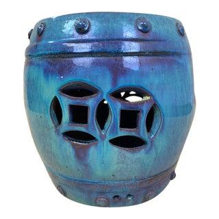 Glazed Terracotta Garden Stool With Foo Dog Face For Sale