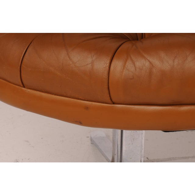 Tufted Swivel Chairs in Carmel Leather by Nicos Zographos - A Pair For Sale - Image 10 of 12