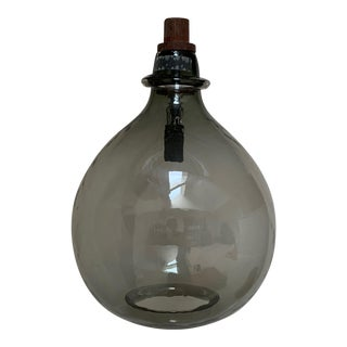 Blown Smoked Glass Bulb Shaped Pendant Light For Sale