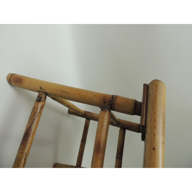 1980s Vintage Bamboo Faux Tortoise Artisanal Small Telephone Table For Sale - Image 5 of 7
