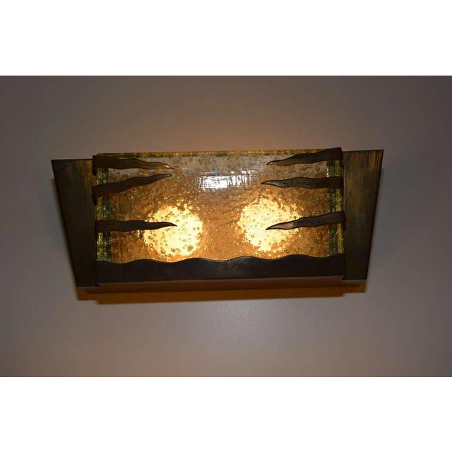 Italian Mid Century Modern Italian Brass Frame Wall Sconce For Sale - Image 3 of 4