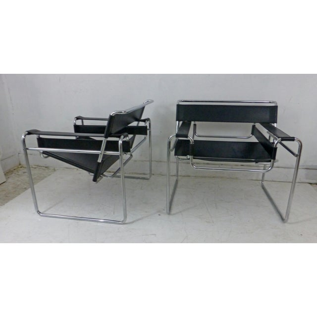 Marcel Breuer Black Leather Chrome Wassily Chairs - A Pair - Image 4 of 10