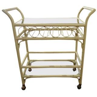 Faux Rattan Midcentury Bar Cart For Sale