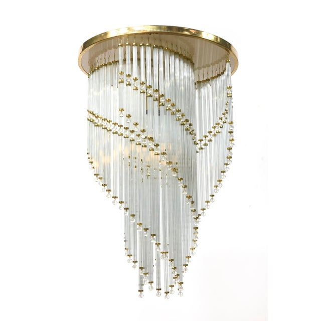 Crystal spiral lighting fixture. Made in Czech Republic. Imported to the US in the 1980's, rewired for use in the US.