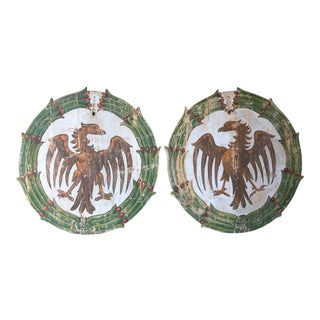Pair of Italian Wine Festival Plaques With Eagles- Circa 1920 -Montalcino, Italy For Sale