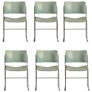 1970s Vintage Teal and Chrome David Rowland 40/4 Stacking Chairs- Set of 6 For Sale