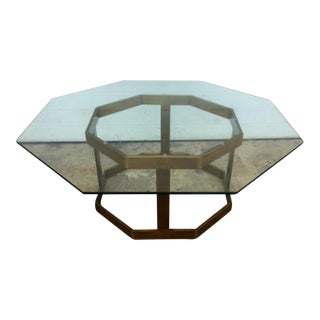 Milo Baughman Glass & Brass Octagonal Coffee Table For Sale