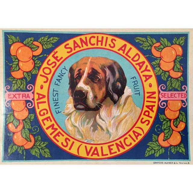 1930s Vintage Spanish Label, Handsome Hound - Image 1 of 2
