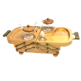 Vintage 1950's Karoff Mid Century Expandable Wooden Party Tray Serving Set of 7 For Sale