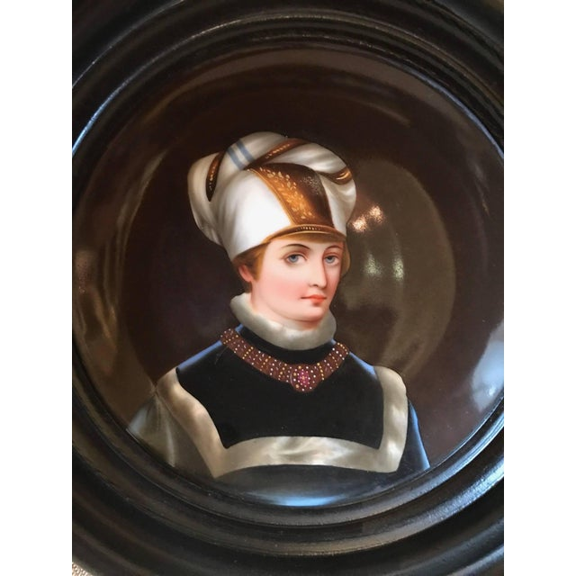 Traditional 19th Century Traditional Porcelain Portrait Plates With Original Frames - a Pair For Sale - Image 3 of 8