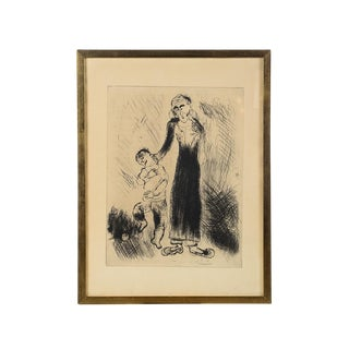 'Mother Pulling Kid by His Ear' Marc Chagall Print For Sale