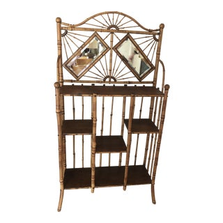 1930s Art Nouveau Bamboo Hallway Entry Shelf Etagere With Vanity Mirror For Sale