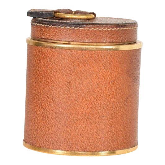 Vintage Hermès Style Leather and Brass Cigarette Holder, Italy, 1950s For Sale