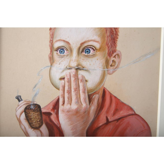 """Early 20th Century """"Young Boy With a Corn Cob Pipe"""" Pastel Drawing on Paper For Sale - Image 5 of 7"""