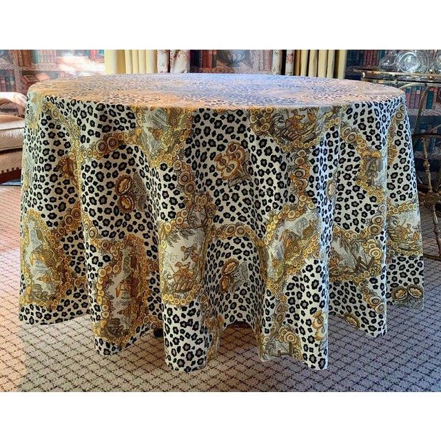Round Leopard and Chinoiserie Tablecloth For Sale - Image 4 of 5