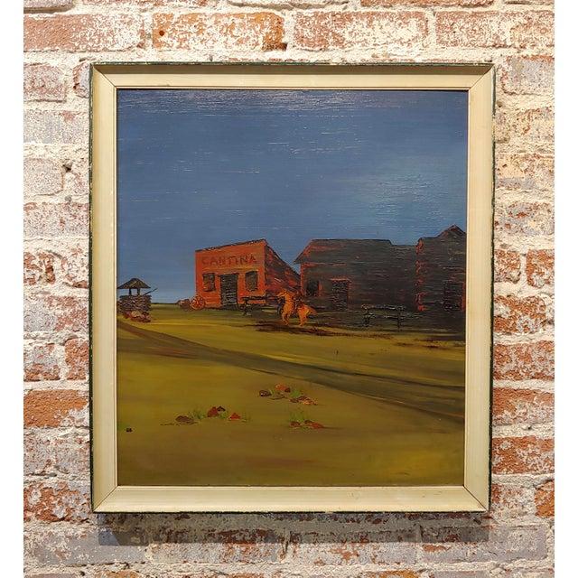 "Paint John Lewis Egenstafer ""Wild West Town"" Oil Painting For Sale - Image 7 of 7"
