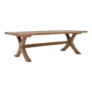 Rustic Farm Style Rectangular Oak Cocktail Table With X Shape Legs, 1950s For Sale