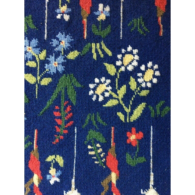 Royal Blue Mid-Century Framed Needlepoint Embroidered Backgammon Board Game Lions Unicorns Floral For Sale - Image 8 of 9