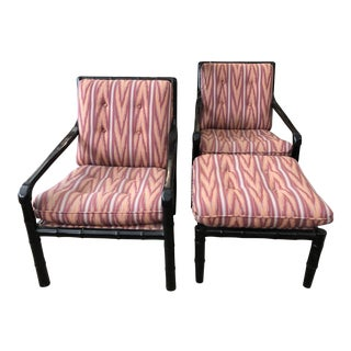 1970s Vintage Faux Black Bamboo Lounge Chairs & Ottoman - Set of 3