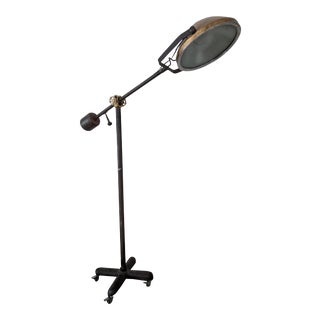 1940's Brass and Cast Iron Industrial Operating Floor Lamp For Sale