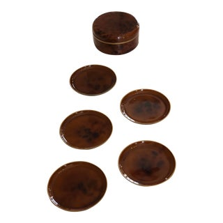 Vintage Faux Tortoise Coasters and Holder – Set of 6 For Sale