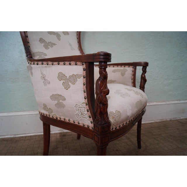 Vintage Chinese Chippendale Style Wing Chair - Image 10 of 10
