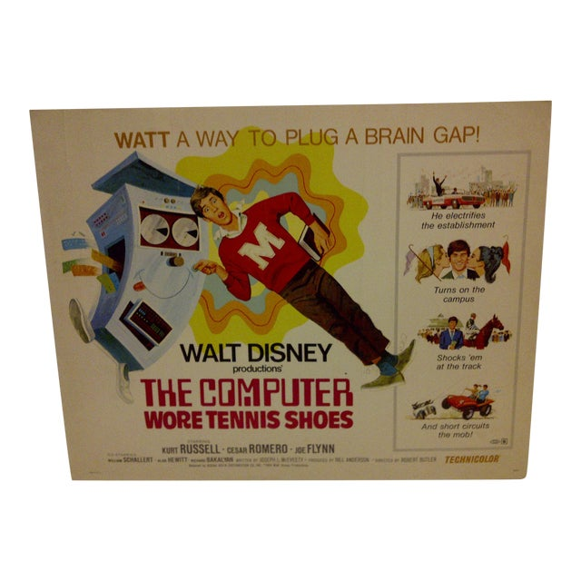 "1970 Vintage Movie Poster of ""The Computer Wore Tennis Shoes"" For Sale"
