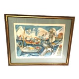Image of Mid Century French Cubist Despierre Sailboat Print For Sale