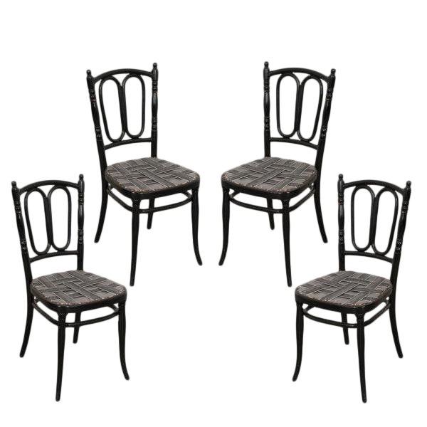Set of Four Ebony Thonet Bentwood Side Chairs For Sale
