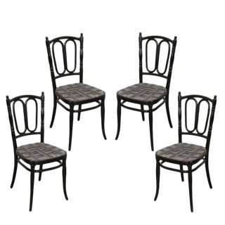 Thonet Ebony Bentwood Side Chairs - Set of 4 For Sale