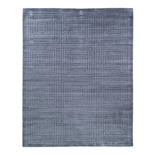 Exquisite Rugs Chesterfield Hand Loom Bamboo Silk Blue & Ivory - 8'x10' For Sale