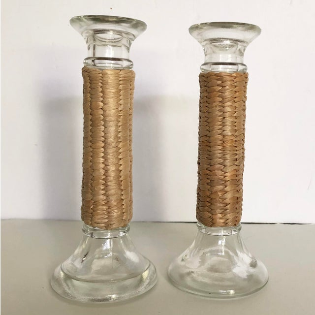 Vintage Glass Raffia Wrapped Candlesticks- a Pair For Sale In Tampa - Image 6 of 6