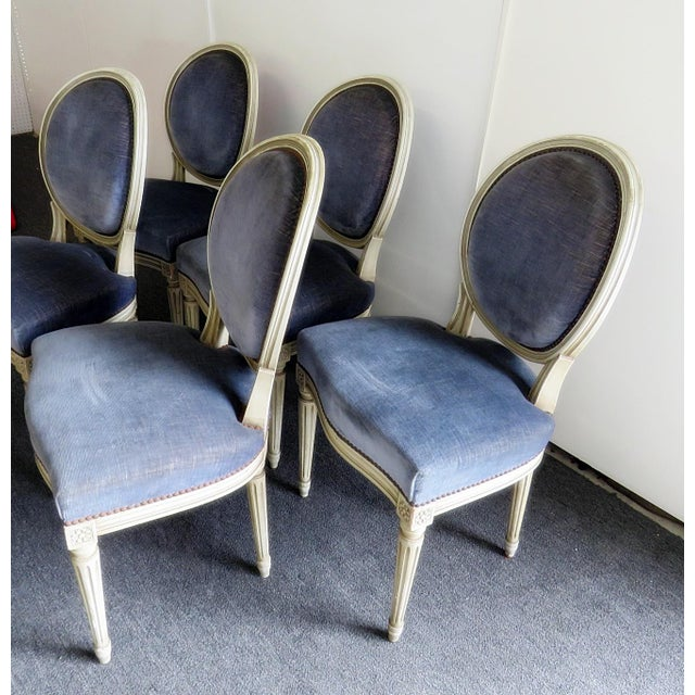 Vintage Mid Century Louis XVI Style Dining Chairs- Set of 6 For Sale - Image 4 of 9
