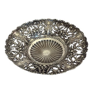 Antique Sterling Silver Pierced Dish For Sale