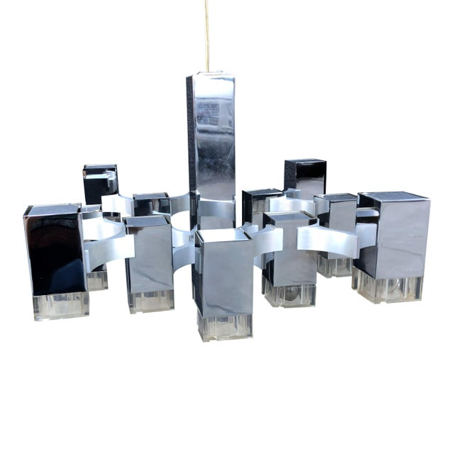 Metal 1970s Gaetano Sciolari Cubic Chandelier for Lightolier For Sale - Image 7 of 7