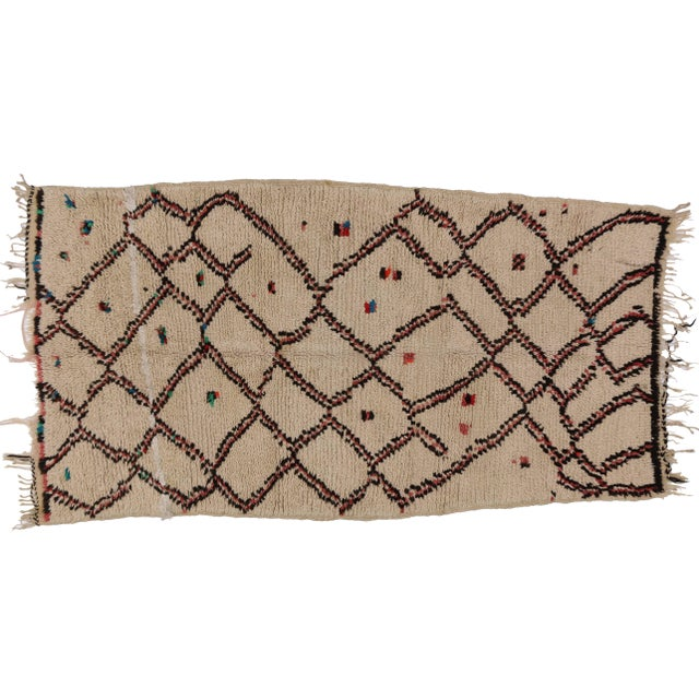 """Vintage Berber Moroccan Rug With Boho Chic Style - 3'1"""" X 4'8"""" For Sale"""