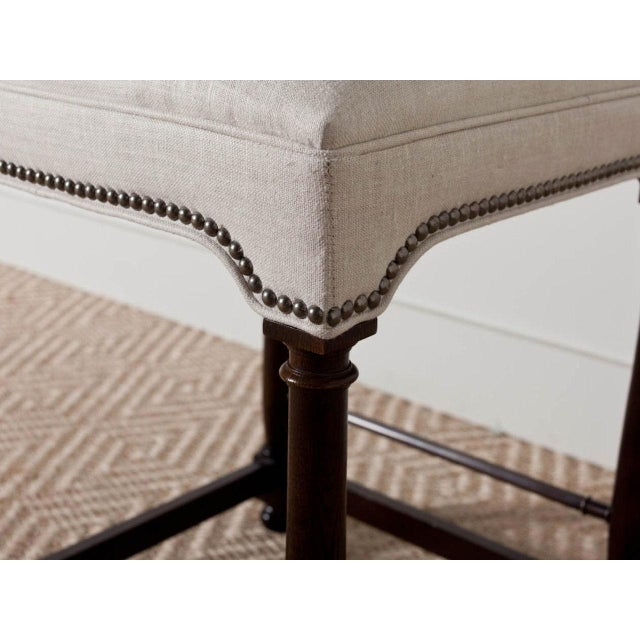 "English Traditional ""Charles"" Upholstered Wooden Baluster Frame Counter Stool For Sale - Image 3 of 5"
