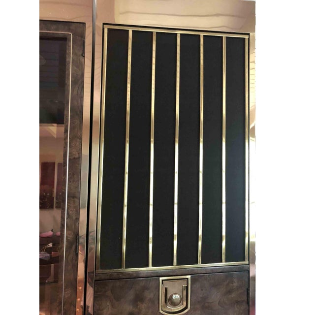 Mastercraft Laquered Burl and Brass Lighted Bar Cabinet For Sale - Image 12 of 13