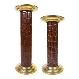 Modern Leather Brass Candle Stick Votive or Pillar Candle Holders - a Pair For Sale
