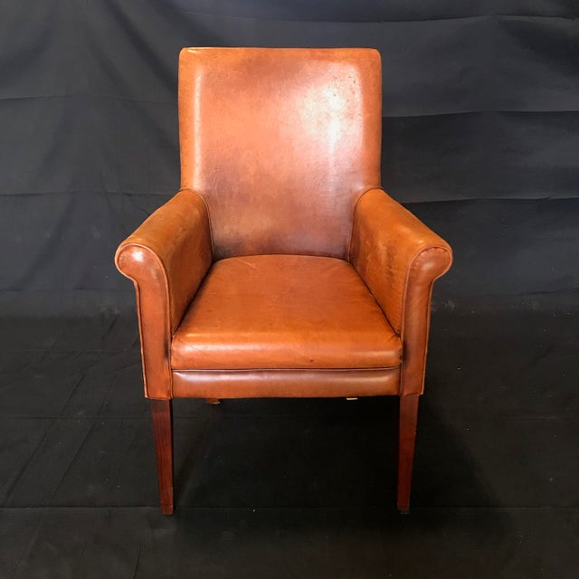 French Vintage Leather Armchairs -Set of 6 For Sale In Portland, ME - Image 6 of 13