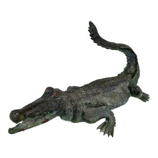 Bronze Cast, Life-Sized Alligator Sculpture For Sale