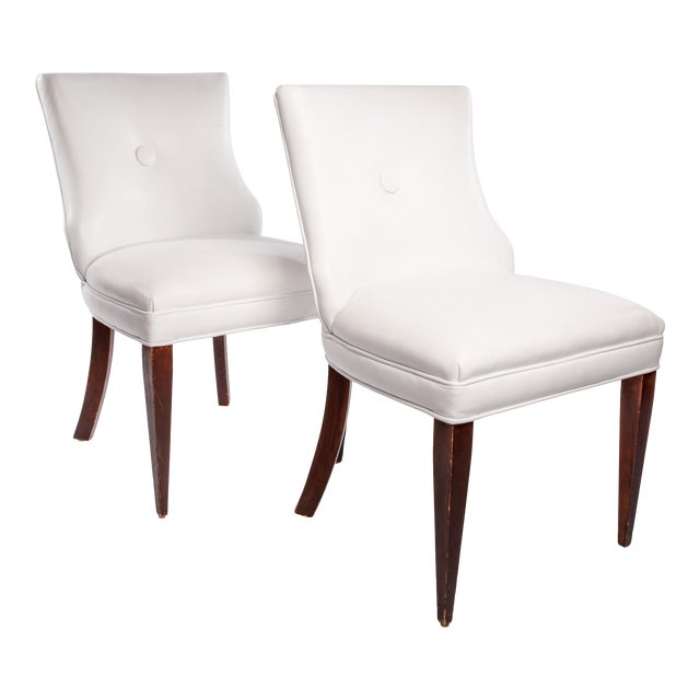 Vintage French Leather Side Chairs- A Pair For Sale