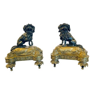 Pair of Louis XVI Style Dore Bronze Chenets Andirons, Property of Robert Goelet For Sale