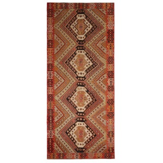 1950s Vintage Mid-Century Malatya Geometric Orange Multicolor Wool Kilim Rug-5′4″ × 12′5″ For Sale