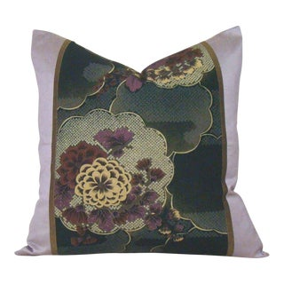 Japanese Silk Floral Chuya Obi Pillow Cover For Sale