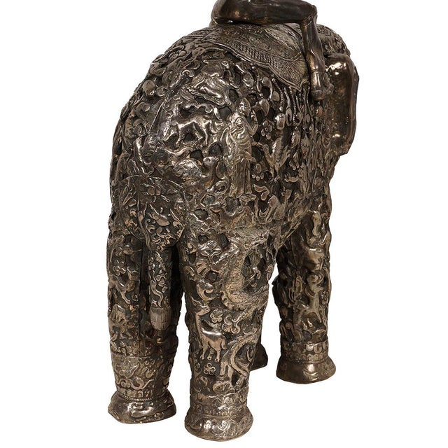 Late 19th Century Antique Man on Elephant Hand Carved Tibetan Sculpture For Sale - Image 12 of 13