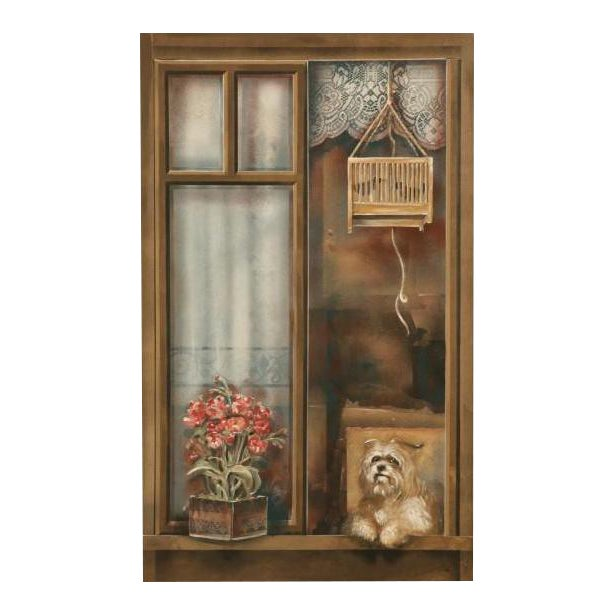 "Zuleyka Benitez ""Dog in the Window"" Painting For Sale"