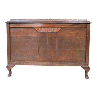 Antique English Mahogany Lift Top Blanket Chest With Cantered Top For Sale