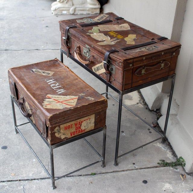 1900 - 1909 Pair of Antique English Luggage Nesting Tables For Sale - Image 5 of 13